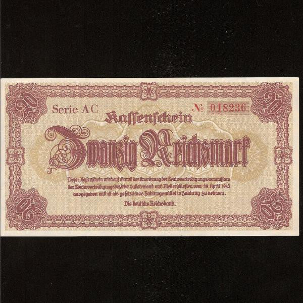 P.187 Germany  Nazi 20 Reichsmark (28.04.1945) Last note of the Third Reich. UNC - Colin Narbeth & Son Ltd.