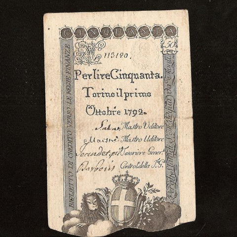 PS.118 Italian States 50 Lire (October 1792) Torino, embossed seal. Fine - Colin Narbeth & Son Ltd.