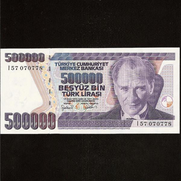 P.212 Turkey 500000 Lira (1998) Without security device at right. UNC - Colin Narbeth & Son Ltd.