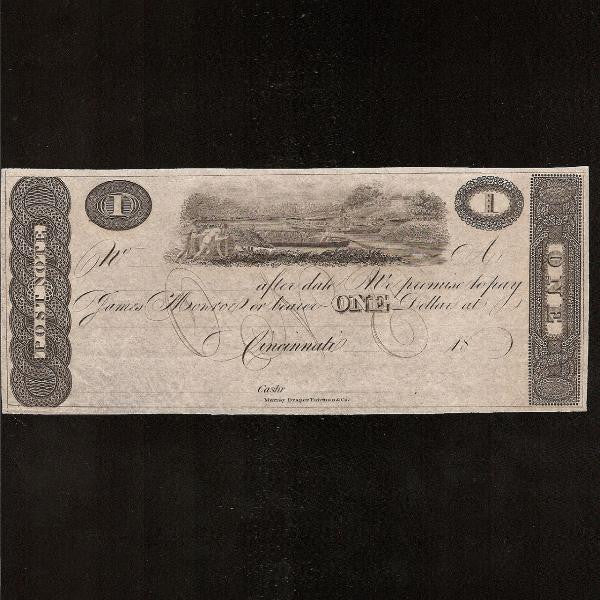US Obsolete Cincinnati $1 (18xx) 'We promise to pay James Monroe or bearer'. Unissued EF - Colin Narbeth & Son Ltd.