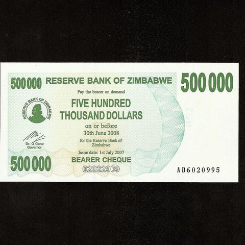 P.51 Zimbabwe 500000 Dollars (2007) UNC - Colin Narbeth & Son Ltd.