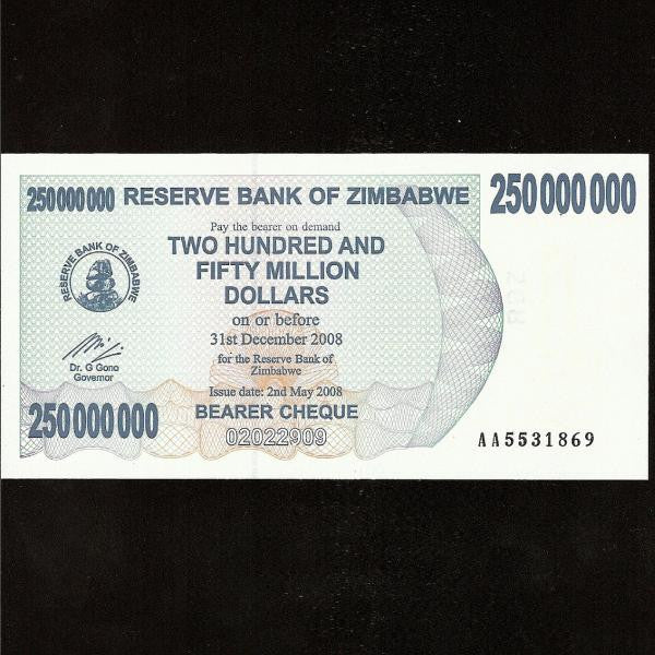 P.59 Zimbabwe 250 Million Dollars (2008) UNC - Colin Narbeth & Son Ltd.
