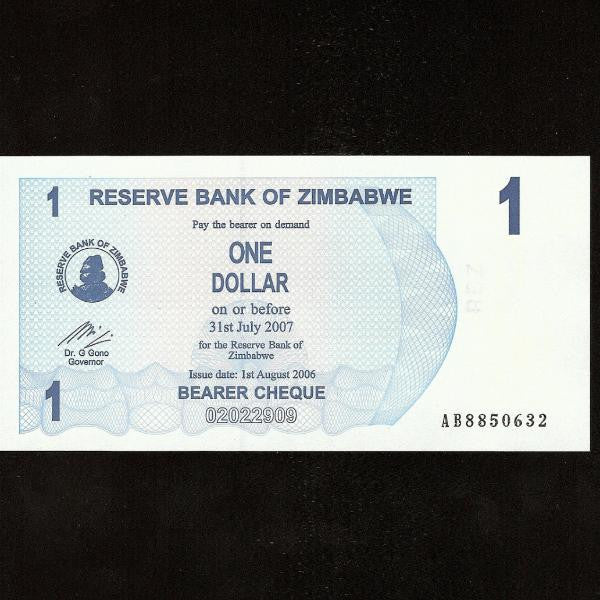 P.37 Zimbabwe 1 Dollar (01.08.2006) UNC - Colin Narbeth & Son Ltd.