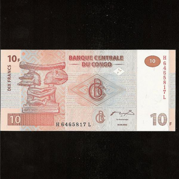 P.93 Congo Democratic Republic 10 Francs (30.06.2003) UNC - Colin Narbeth & Son Ltd.