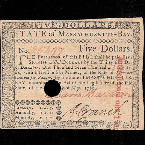 PS.1340 US Colonial 5 Spanish Milled dollars (05.05.1780) Massachusetts- Bay. Interest 5% hole cancelled on redemption. Good EF - Colin Narbeth & Son Ltd.