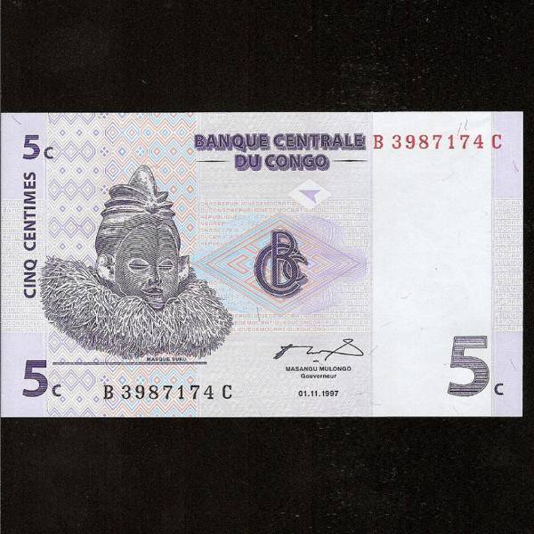 P.81 Congo Democratic Republic 5 Centimes (1997) UNC - Colin Narbeth & Son Ltd.