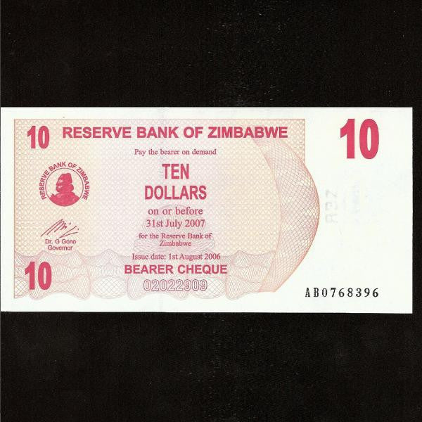 P.39 Zimbabwe 10 Dollars (01.08.2006) UNC - Colin Narbeth & Son Ltd.