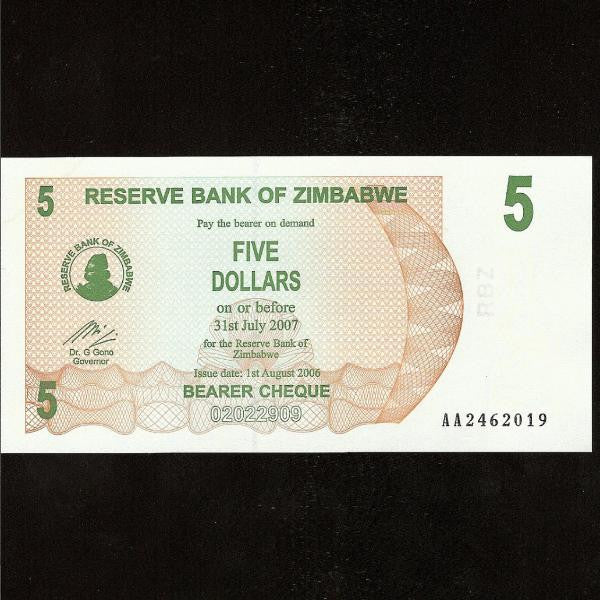 P.38 Zimbabwe 5 Dollars (01.08.2006) UNC - Colin Narbeth & Son Ltd.