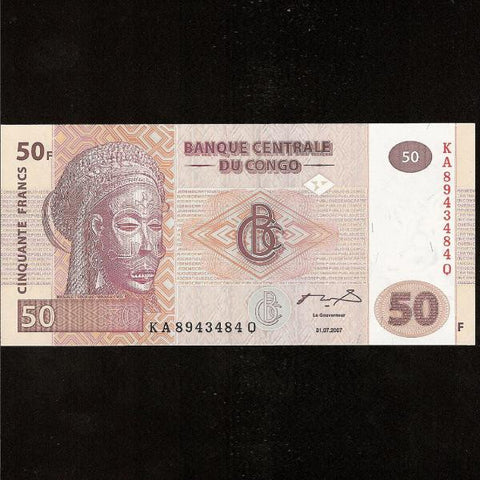 P.91A Congo Democratic Republic 50 Francs (31.07.2007) UNC - Colin Narbeth & Son Ltd.