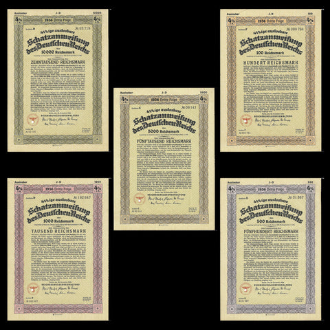 Nazi Germany - price for five bonds, Schatzanweisung des Reichs (1936) 100, 500, 1000, 5000, 10000 RM - Colin Narbeth & Son Ltd.