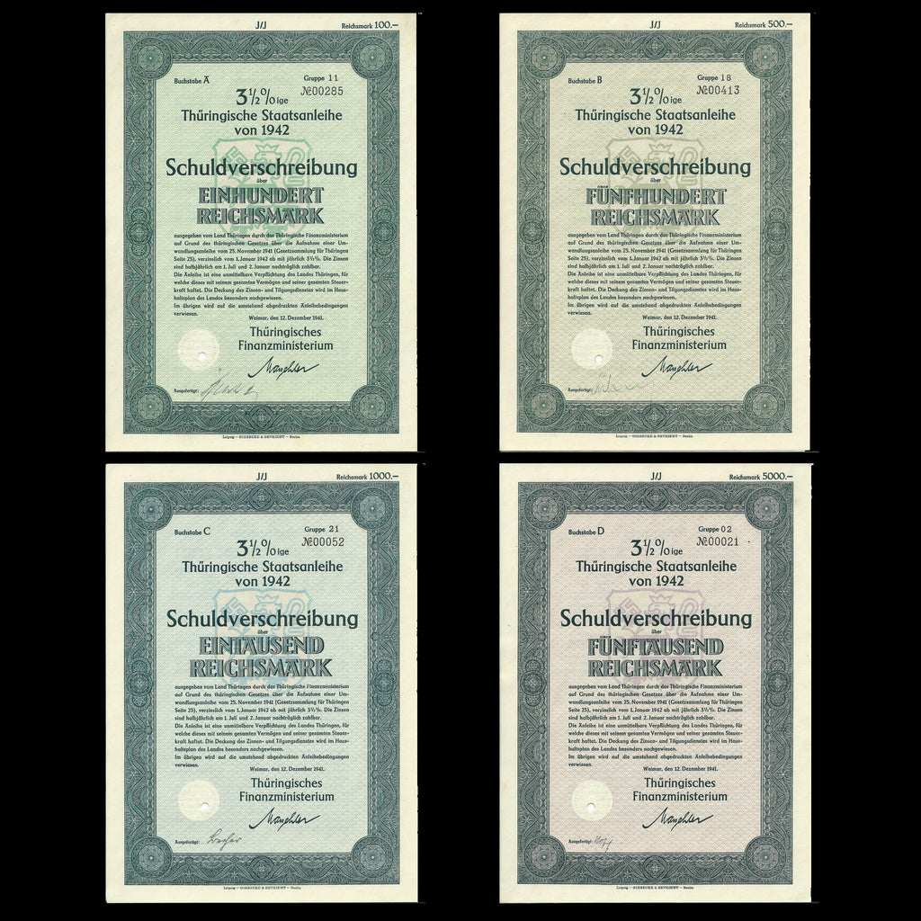 Nazi Germany - price for four bonds, Thuringische Staatsanleihe, 100, 500, 1000, 5000 RM (1942) 3 1/2% - Colin Narbeth & Son Ltd.