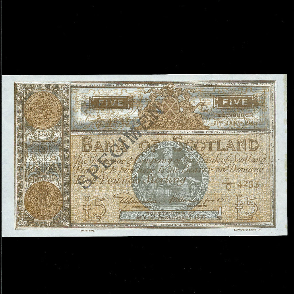 Scotland £5 specimen (21.01.1945) Elphinestone/ Crawford 8/Q 4233, dark brown reverse, unlisted date, BA102b, EF