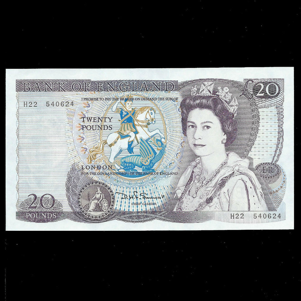 B350 Somerset £20 (1981) William Shakespeare, QEII watermark, H22, A/UNC