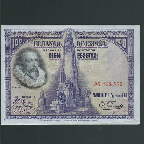 P. 76a Spain 100 Pesetas (1928) Good VF