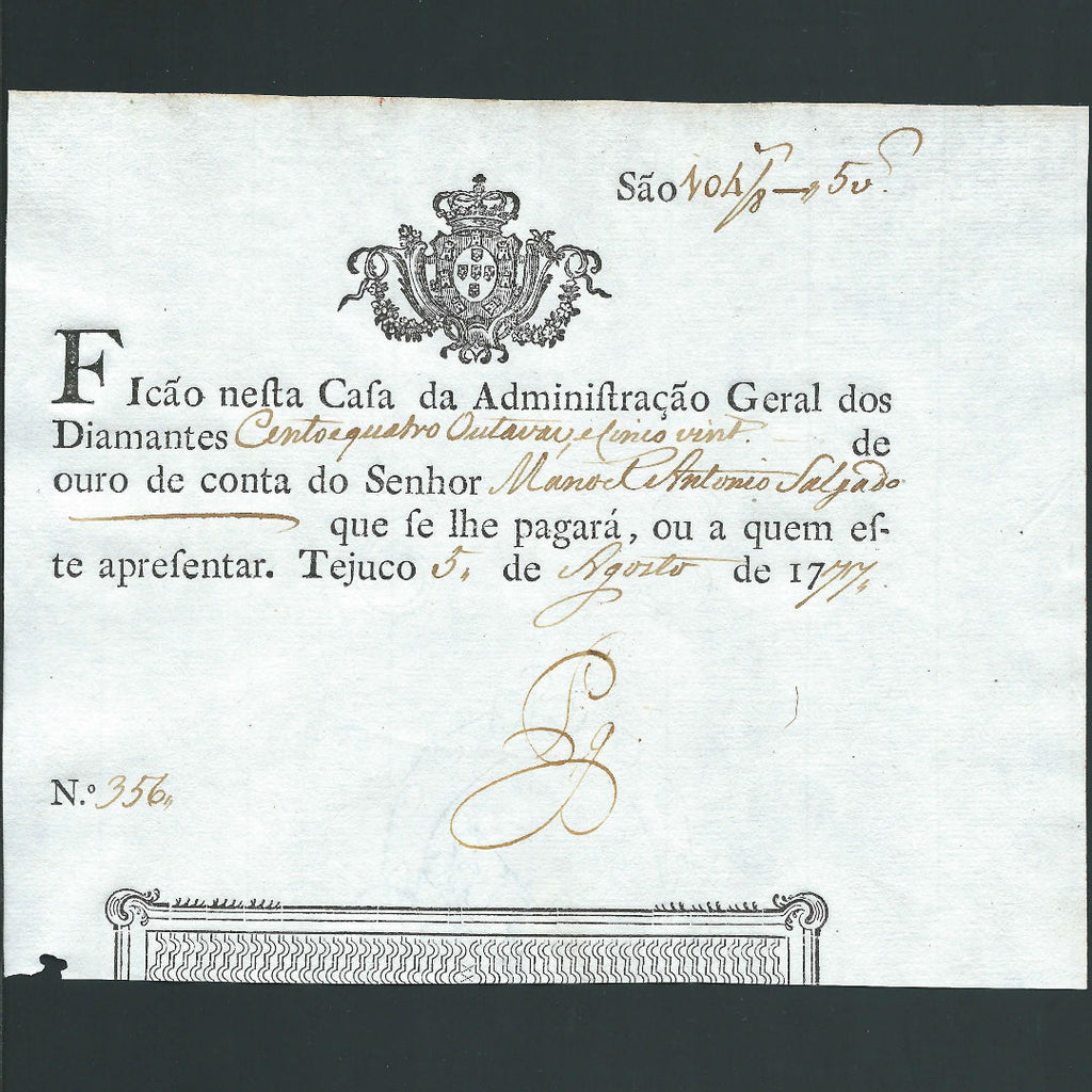 PA.101 Brazil Diamond Note (1777) Portuguese Administration, small hole otherwise EF