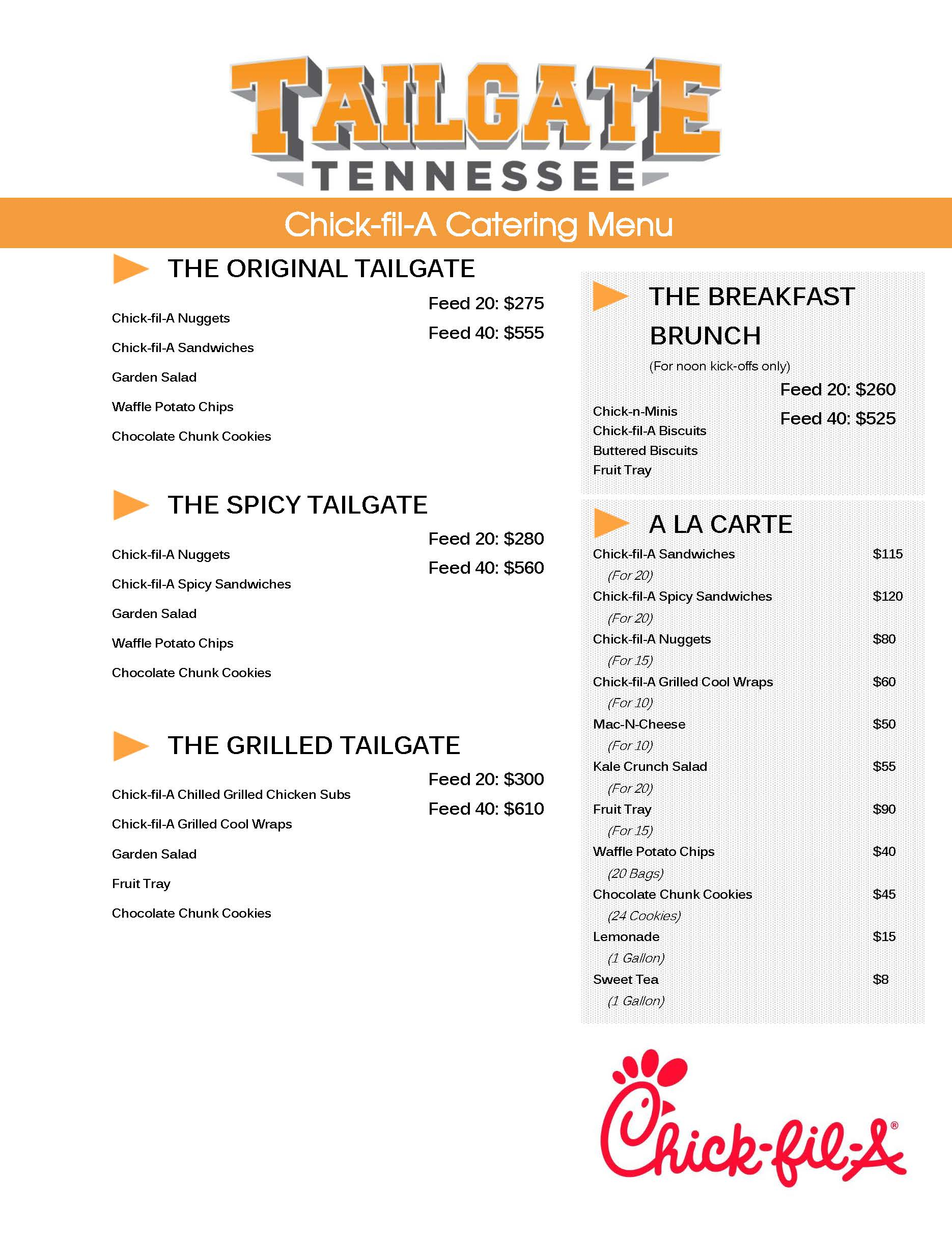 Chick-fil-A Full Tailgate Meals