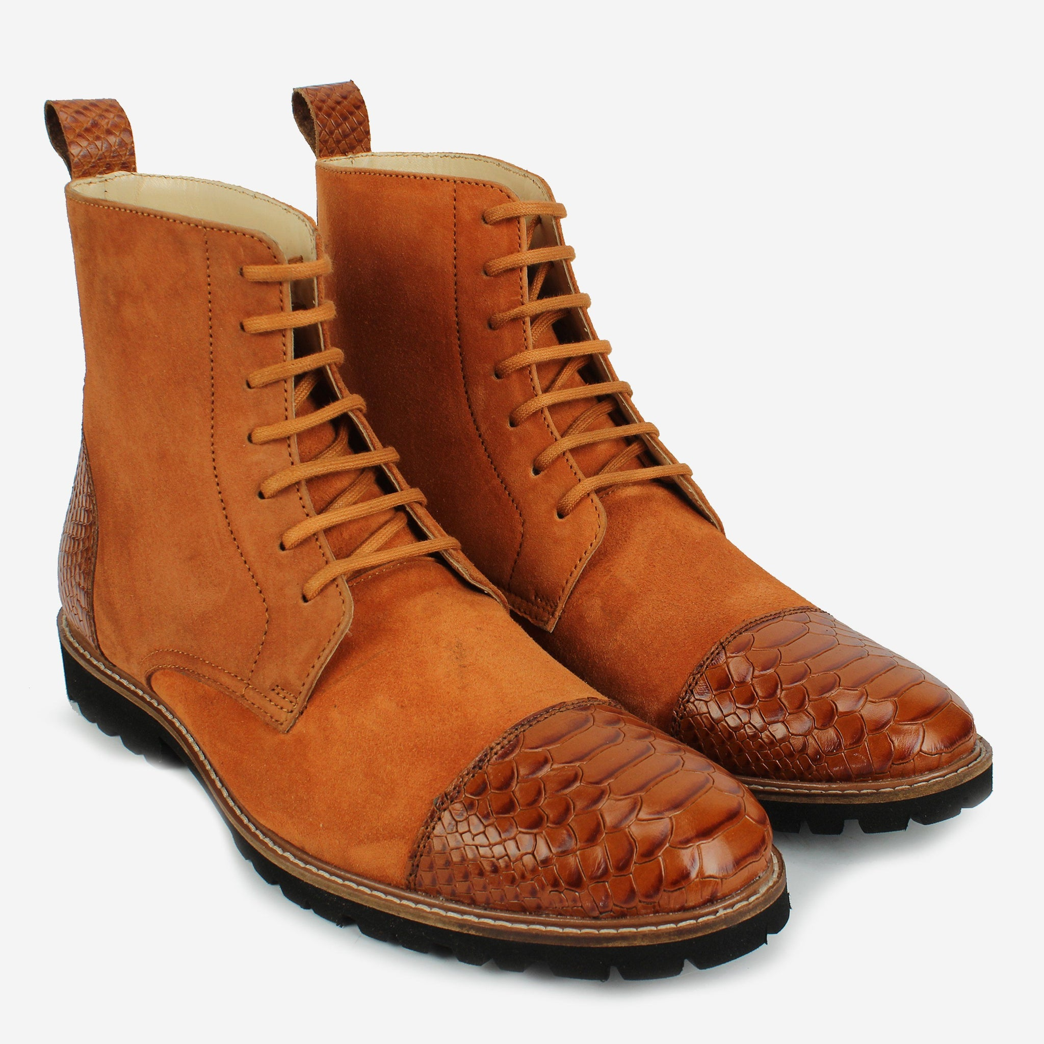 Oberon LaceUp Boot Crocodile Brown Thebootsco