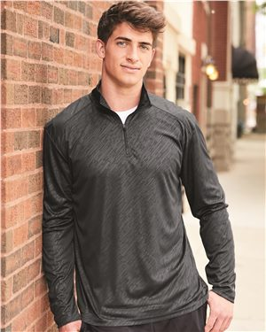 Badger - Line Embossed Quarter-Zip Long Sleeve Tee - 4134