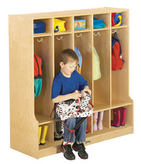 Coat Lockers w/Step - 5 Sections - Honor Roll Childcare Supply