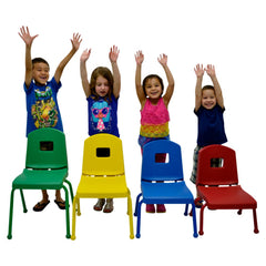 "6 Pk 14"" Stack Chairs-Matching Ball Glides - Honor Roll Childcare Supply"
