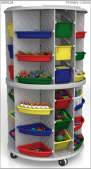 "58"" High Mobile Lite Storage Tower, Granite Gray - Honor Roll Childcare Supply"