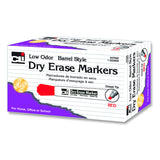 12CT DRY ERASE MARKERS RED CHISEL - Honor Roll Childcare Supply