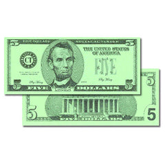 $5 BILLS SET 100 BILLS - Honor Roll Childcare Supply