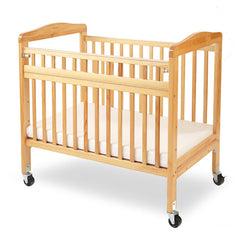 L.A. Baby Mini/Portable Non-folding Wooden Window Crib with Safety Gate - Honor Roll Childcare Supply