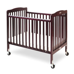 L.A. Baby The Little Wood Crib-Mini/Portable Folding Wood Crib - Cherry Color - Honor Roll Childcare Supply
