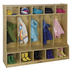 5 Section Birch Coat Locker with Bench-RTA - Honor Roll Childcare Supply