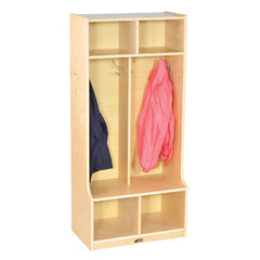 2-Section Birch Coat Locker with Bench-RTA - Honor Roll Childcare Supply