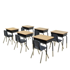 "6 Metal Box Desks & 12"" Navy Chairs - Honor Roll Childcare Supply"