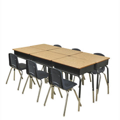 "6 Metal Box Desks & 14"" Navy Chairs - Honor Roll Childcare Supply"