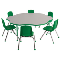 "60"" Flower Table & 6 16"" Stack Chairs - Honor Roll Childcare Supply"