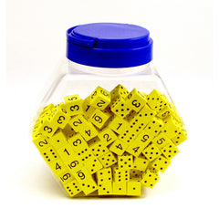 16MM FOAM DICE TUB OF 200 YELLOW - Honor Roll Childcare Supply