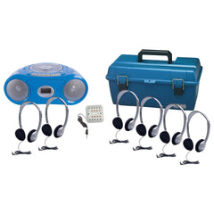 6 Person Listening Center with Bluetooth® CD/Cassette/FM Boombox and On-Ear Headphones - Honor Roll Childcare Supply