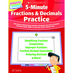 5 MINUTE FRACTIONS & DECIMALS - Honor Roll Childcare Supply