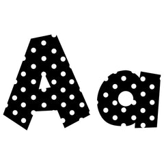 4IN FUN FONT LETTERS BLACK POLKA - Honor Roll Childcare Supply