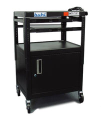 Height adjustable AV Media cart w/ Security Cabinet - Two Pull-Out Shelves - Honor Roll Childcare Supply