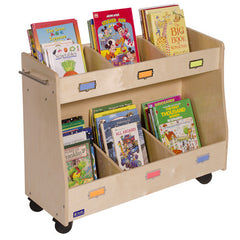 "'36"" Wide Sectioned Mobile Book Storage - Honor Roll Childcare Supply"
