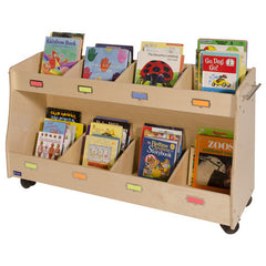 "48"" Wide Sectioned Mobile Book Storage - Honor Roll Childcare Supply"