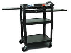 Height adjustable AV Media Cart - Three stationary Shelves, Two Pull-Out - Honor Roll Childcare Supply