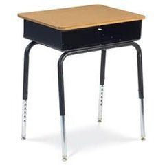 2-Pack Open-Front Black Metal Book Box Student Desk - Honor Roll Childcare Supply