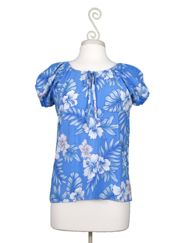 Bright Hibiscus Hawaiian Blouse