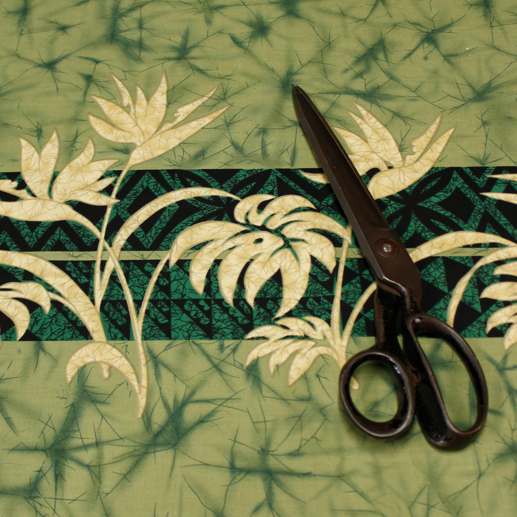 Bird of Paradise Green Fabric by the Yard