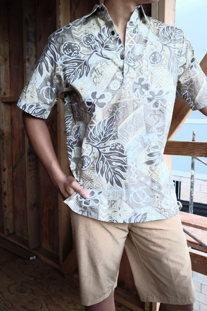 Beige Ulu Ferns Pull Over Hawaiian Shirt
