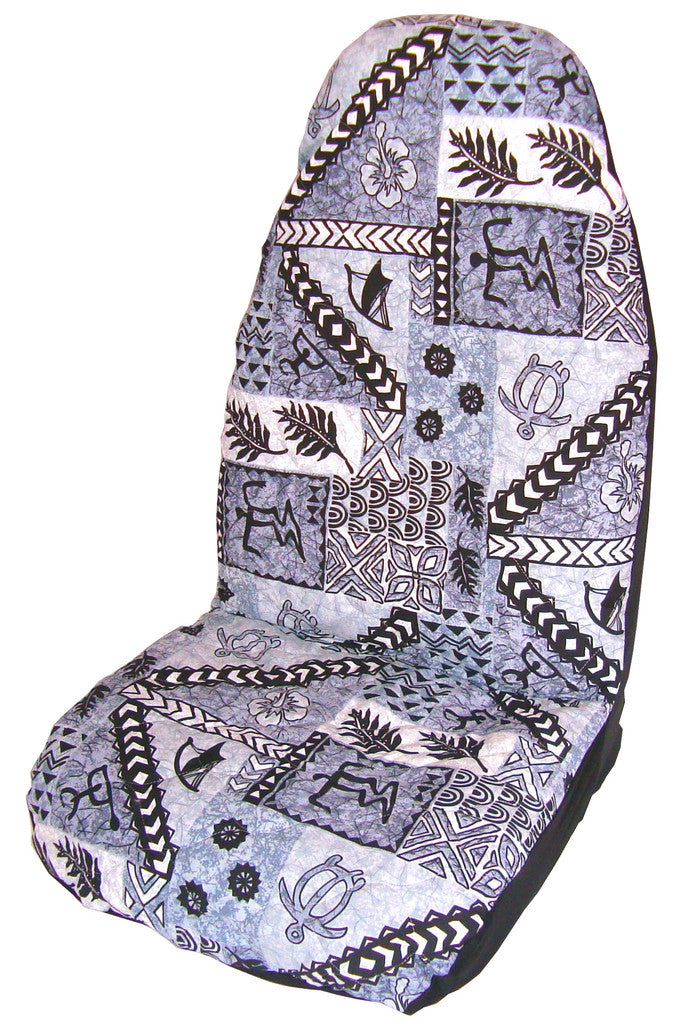 Gray Hawaiian Tapa Car Seat Cover