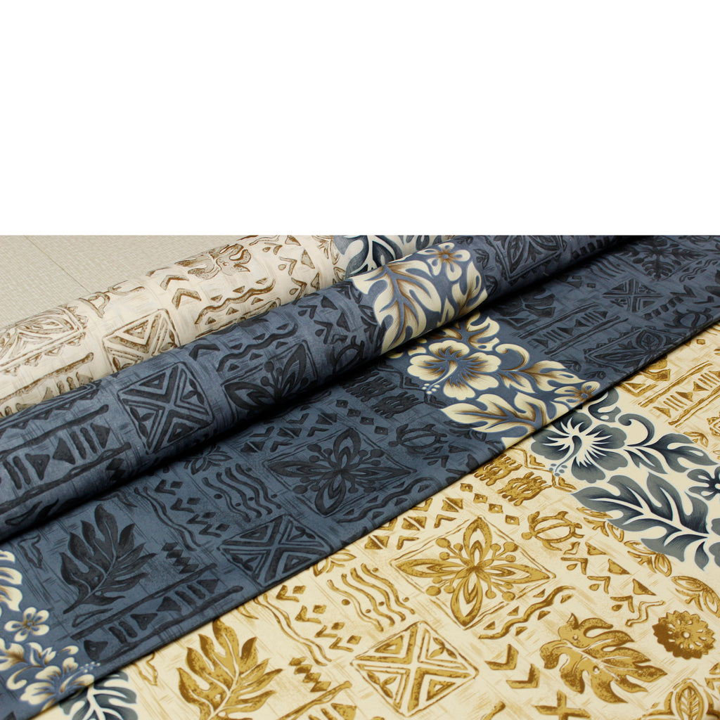 Hibiscus Band Beige and Navy 2 Rolls Fabric by the Yard