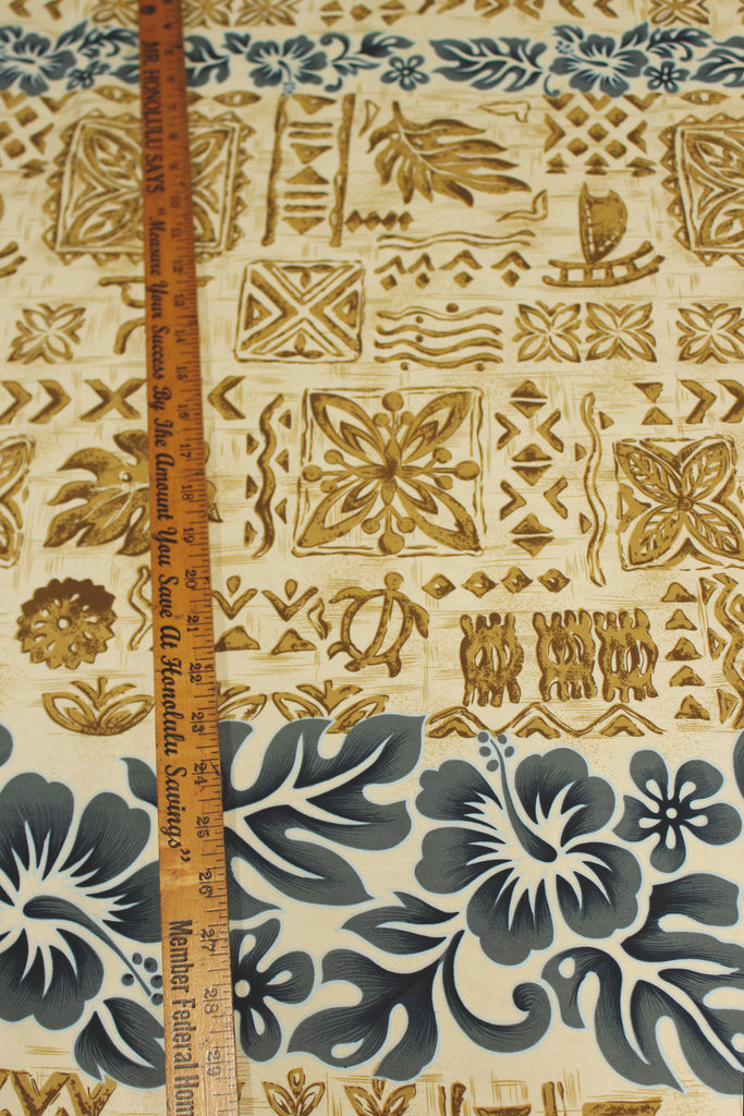 Hibiscus Band Beige Fabric by the Yard