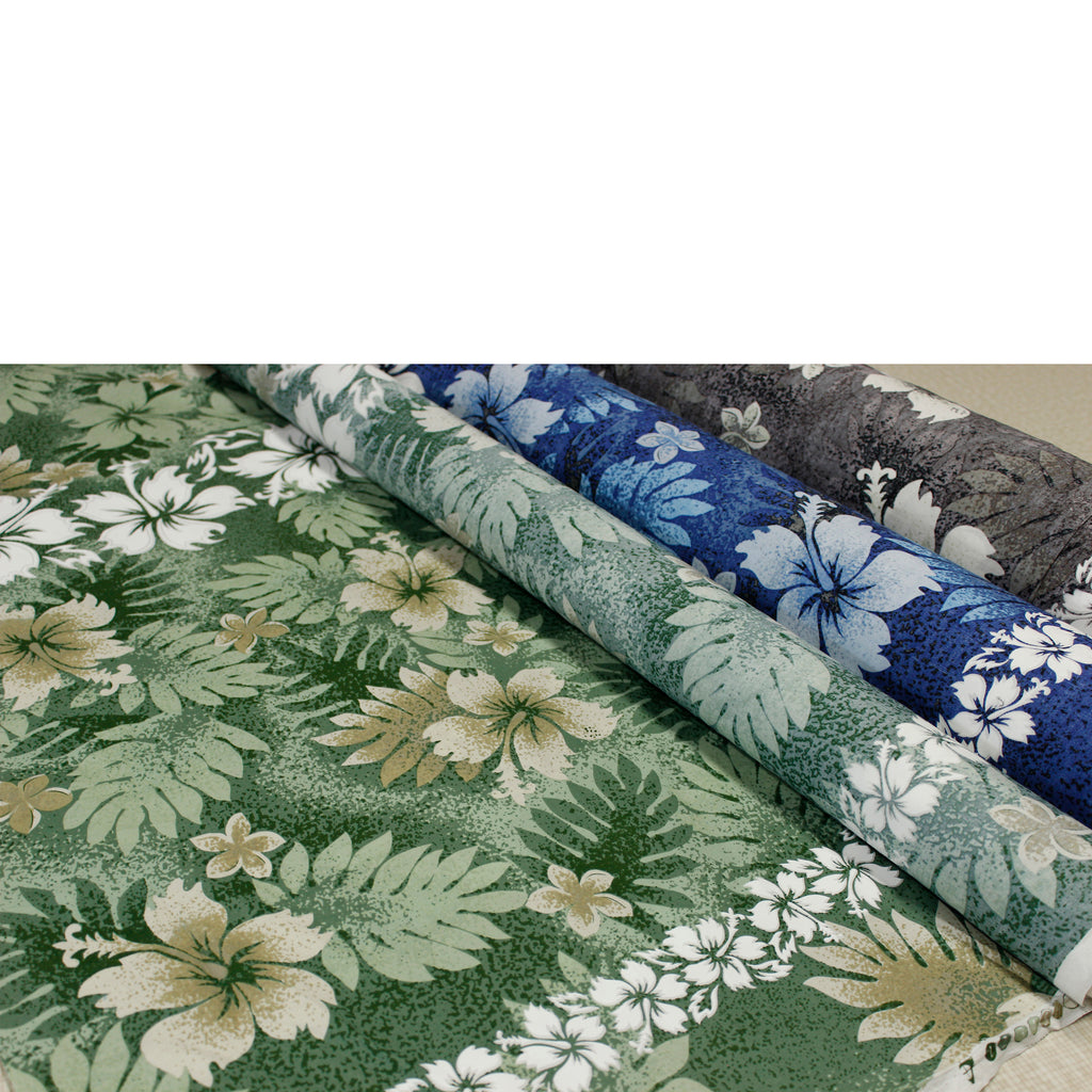 Hibiscus and Fern Rolls Fabric by the Yard